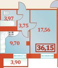 ЖК «Александрийский», планировка 1-комнатной квартиры, 36.15 м²