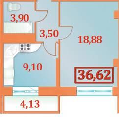 ЖК «Александрийский», планировка 1-комнатной квартиры, 36.62 м²