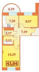 ЖК «Александрийский», планировка 2-комнатной квартиры, 43.84 м²