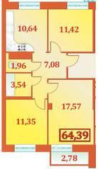 ЖК «Александрийский», планировка 3-комнатной квартиры, 64.39 м²