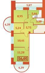 ЖК «Александрийский», планировка 4-комнатной квартиры, 56.05 м²