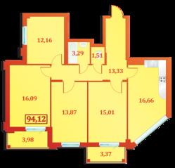 ЖК «Александрийский», планировка 4-комнатной квартиры, 94.12 м²