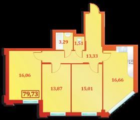 ЖК «Александрийский», планировка 3-комнатной квартиры, 79.73 м²