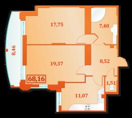 ЖК «Александрийский», планировка 2-комнатной квартиры, 68.16 м²