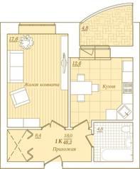 ЖК «Новый Город», планировка 1-комнатной квартиры, 48.20 м²