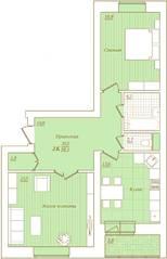 ЖК «Новый Город», планировка 2-комнатной квартиры, 76.10 м²