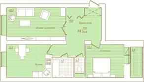 ЖК «Новый Город», планировка 2-комнатной квартиры, 75.60 м²