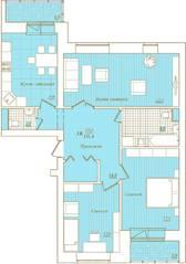 ЖК «Новый Город», планировка 3-комнатной квартиры, 101.40 м²