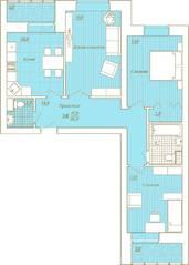 ЖК «Новый Город», планировка 3-комнатной квартиры, 91.00 м²
