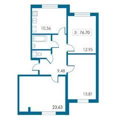 ЖК «Петергофский каскад», планировка 3-комнатной квартиры, 76.70 м²