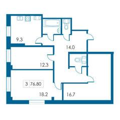 ЖК «Петергофский каскад», планировка 3-комнатной квартиры, 76.80 м²