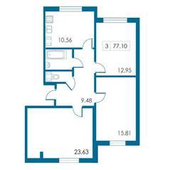 ЖК «Петергофский каскад», планировка 3-комнатной квартиры, 77.10 м²