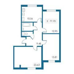 ЖК «Петергофский каскад», планировка 3-комнатной квартиры, 77.70 м²