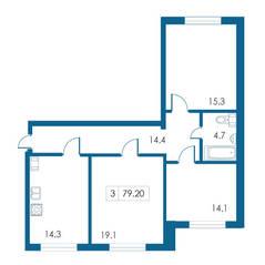 ЖК «Петергофский каскад», планировка 3-комнатной квартиры, 79.20 м²