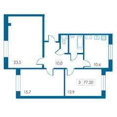 ЖК «Петергофский каскад», планировка 3-комнатной квартиры, 77.20 м²