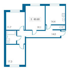 ЖК «Петергофский каскад», планировка 3-комнатной квартиры, 80.80 м²