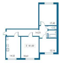 ЖК «Петергофский каскад», планировка 3-комнатной квартиры, 81.00 м²