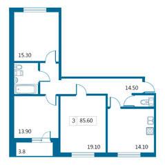 ЖК «Петергофский каскад», планировка 3-комнатной квартиры, 85.60 м²