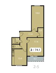 ЖК «Парк на Фабричной», планировка 2-комнатной квартиры, 74.10 м²