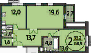 ЖК «Летчика Бабушкина 17», планировка 2-комнатной квартиры, 68.90 м²