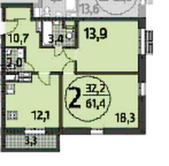 ЖК «Летчика Бабушкина 17», планировка 2-комнатной квартиры, 61.40 м²