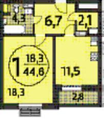ЖК «Летчика Бабушкина 17», планировка 1-комнатной квартиры, 44.60 м²
