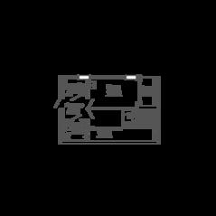 ЖК «9-18», планировка 1-комнатной квартиры, 41.53 м²