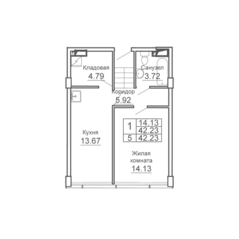 ЖК «9-18», планировка 1-комнатной квартиры, 42.23 м²