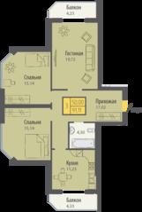 ЖК «Кранц-Парк», планировка 3-комнатной квартиры, 91.11 м²