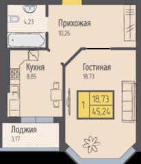 ЖК «Кранц-Парк», планировка 1-комнатной квартиры, 45.24 м²