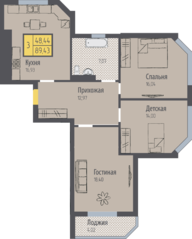 ЖК «Кранц-Парк», планировка 3-комнатной квартиры, 89.43 м²