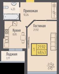 ЖК «Кранц-Парк», планировка 1-комнатной квартиры, 48.43 м²