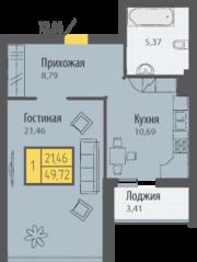 ЖК «Кранц-Парк», планировка 1-комнатной квартиры, 49.72 м²