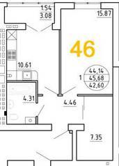 ЖК «Янтарный дом 2», планировка 1-комнатной квартиры, 45.68 м²