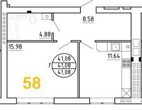 ЖК «Янтарный дом 2», планировка 1-комнатной квартиры, 41.08 м²