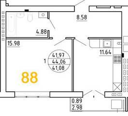 ЖК «Янтарный дом 2», планировка 1-комнатной квартиры, 44.06 м²
