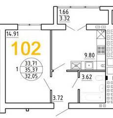 ЖК «Янтарный дом 2», планировка 1-комнатной квартиры, 35.37 м²