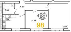 ЖК «Янтарный дом 2», планировка 2-комнатной квартиры, 59.00 м²