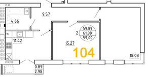ЖК «Янтарный дом 2», планировка 2-комнатной квартиры, 61.98 м²