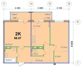 ЖК «Новый Ногинск», планировка 2-комнатной квартиры, 68.07 м²