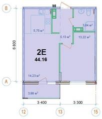 ЖК «Новый Ногинск», планировка 2-комнатной квартиры, 44.16 м²