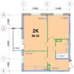 ЖК «Новый Ногинск», планировка 2-комнатной квартиры, 56.32 м²