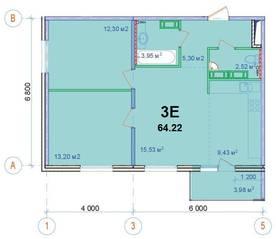 ЖК «Новый Ногинск», планировка 3-комнатной квартиры, 64.22 м²