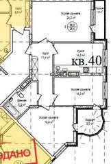ЖК «Гнездо аиста», планировка 3-комнатной квартиры, 95.40 м²