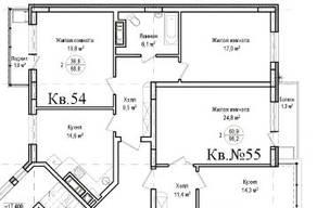 ЖК «Гнездо аиста», планировка 2-комнатной квартиры, 68.80 м²