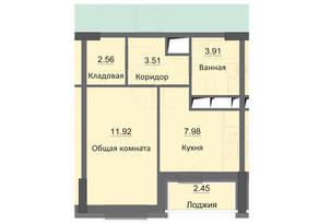 ЖК «Циолковский», планировка 1-комнатной квартиры, 32.33 м²