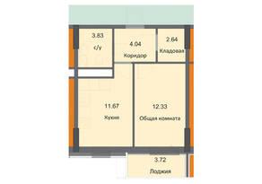 ЖК «Циолковский», планировка 1-комнатной квартиры, 38.23 м²