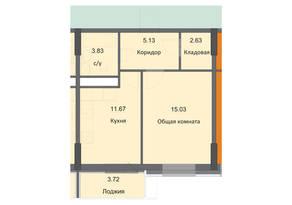ЖК «Циолковский», планировка 1-комнатной квартиры, 42.01 м²