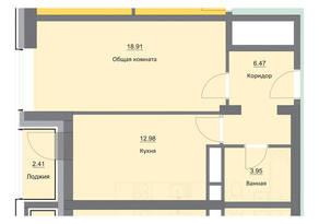 ЖК «Циолковский», планировка 1-комнатной квартиры, 44.72 м²