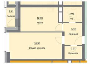 ЖК «Циолковский», планировка 1-комнатной квартиры, 46.92 м²